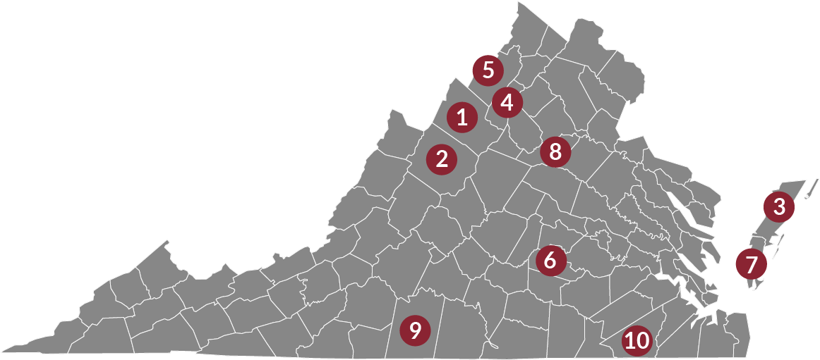Map of top ag counties in virginia